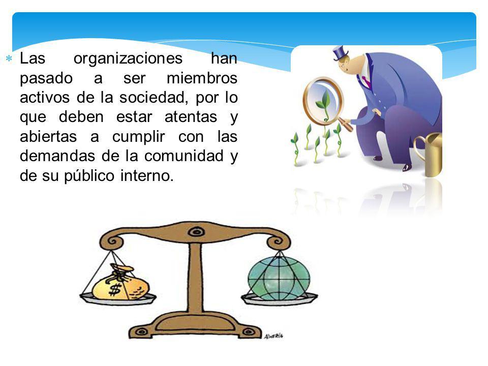 Las organizaciones han pasado a ser miembros activos de la sociedad, por lo que deben estar atentas y abiertas a cumplir con las demandas de la comunidad y de su público interno.