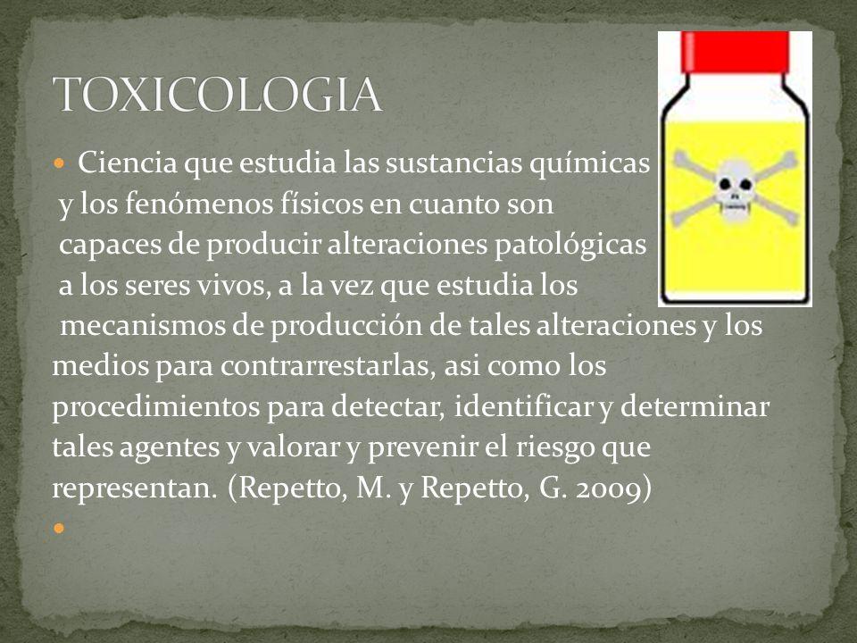TOXICOLOGIA Ciencia que estudia las sustancias químicas