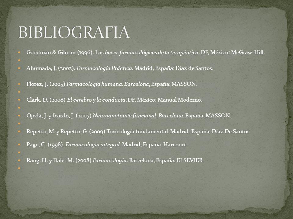 BIBLIOGRAFIA Goodman & Gilman (1996). Las bases farmacológicas de la terapéutica. DF, México: McGraw-Hill.
