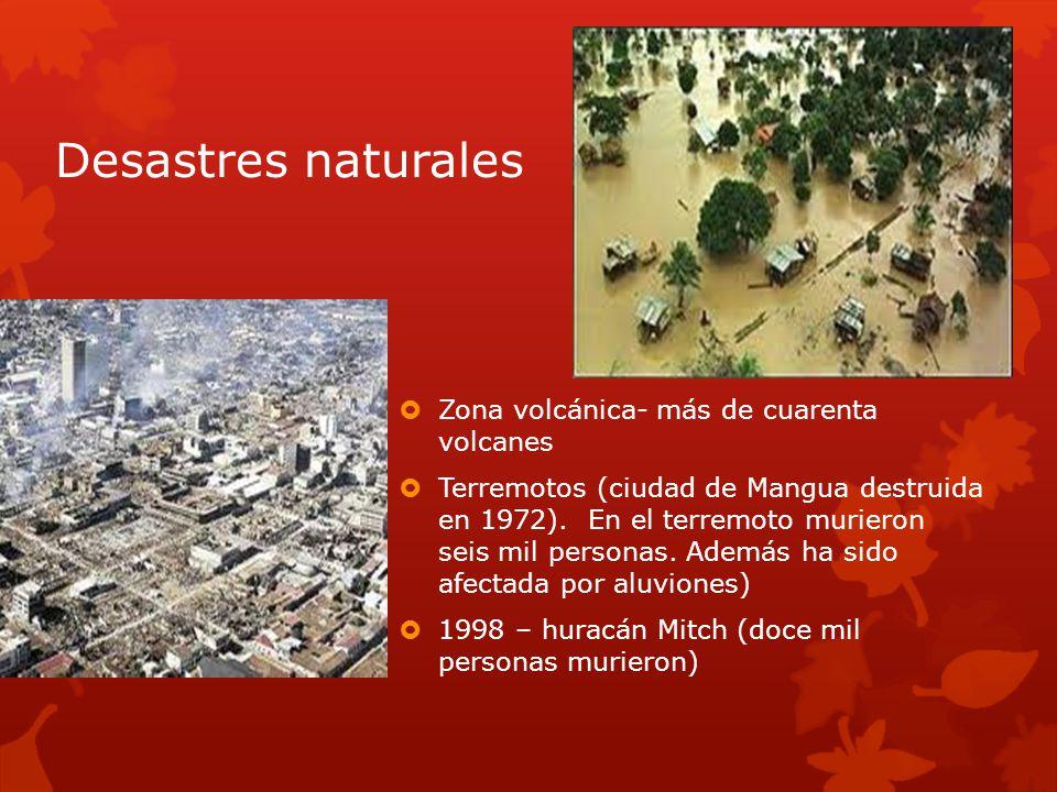 Desastres naturales Zona volcánica- más de cuarenta volcanes