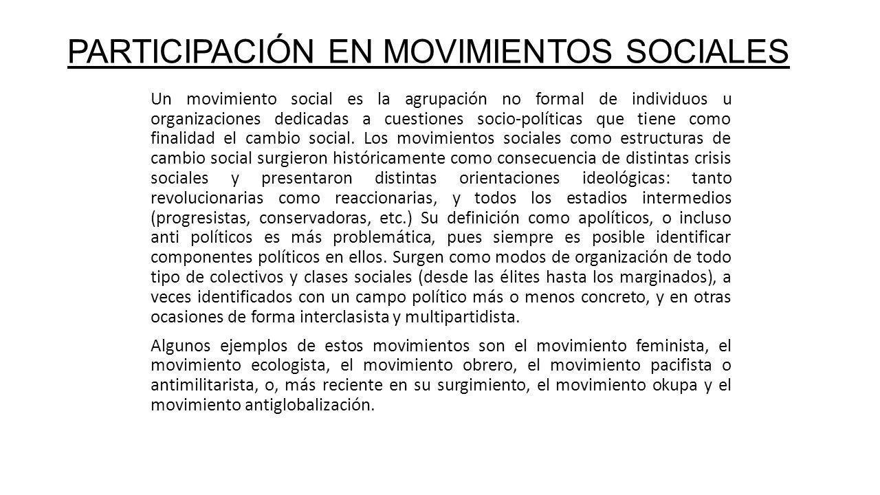 PARTICIPACIÓN EN MOVIMIENTOS SOCIALES