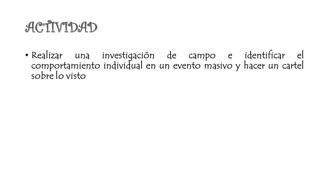 ACTIVIDAD Realizar una investigación de campo e identificar el comportamiento individual en un evento masivo y hacer un cartel sobre lo visto.