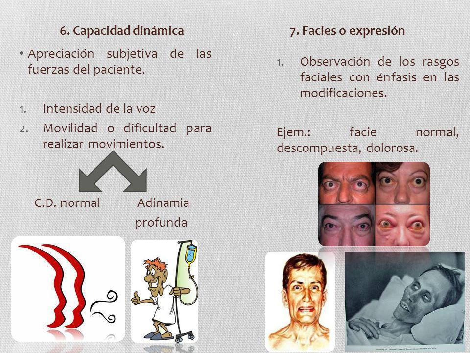6. Capacidad dinámica 7. Facies o expresión. Apreciación subjetiva de las fuerzas del paciente. Intensidad de la voz.