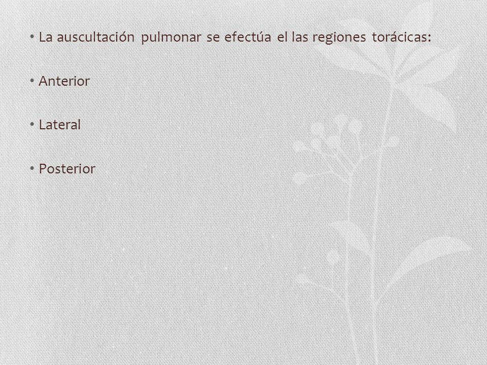 La auscultación pulmonar se efectúa el las regiones torácicas: