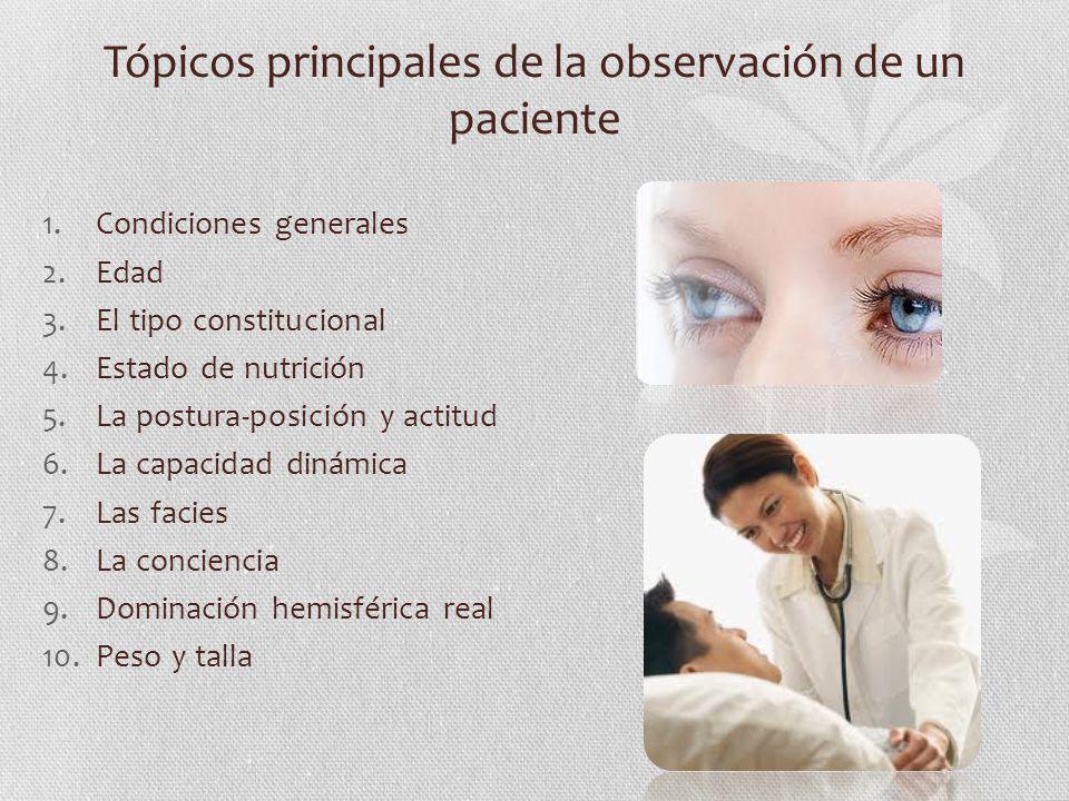 Tópicos principales de la observación de un paciente