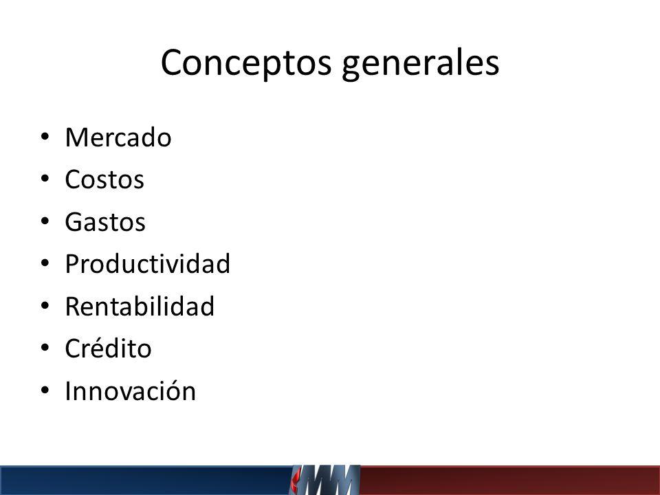 Conceptos generales Mercado Costos Gastos Productividad Rentabilidad
