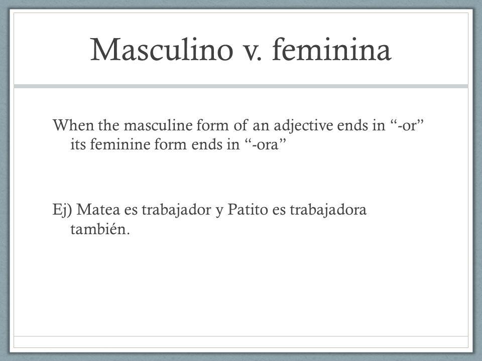 Masculino v. feminina