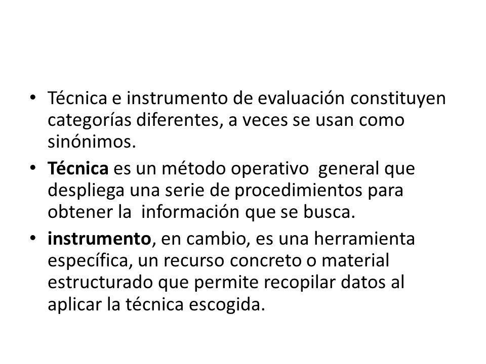 Técnica e instrumento de evaluación constituyen categorías diferentes, a veces se usan como sinónimos.