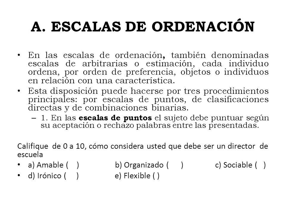 A. ESCALAS DE ORDENACIÓN