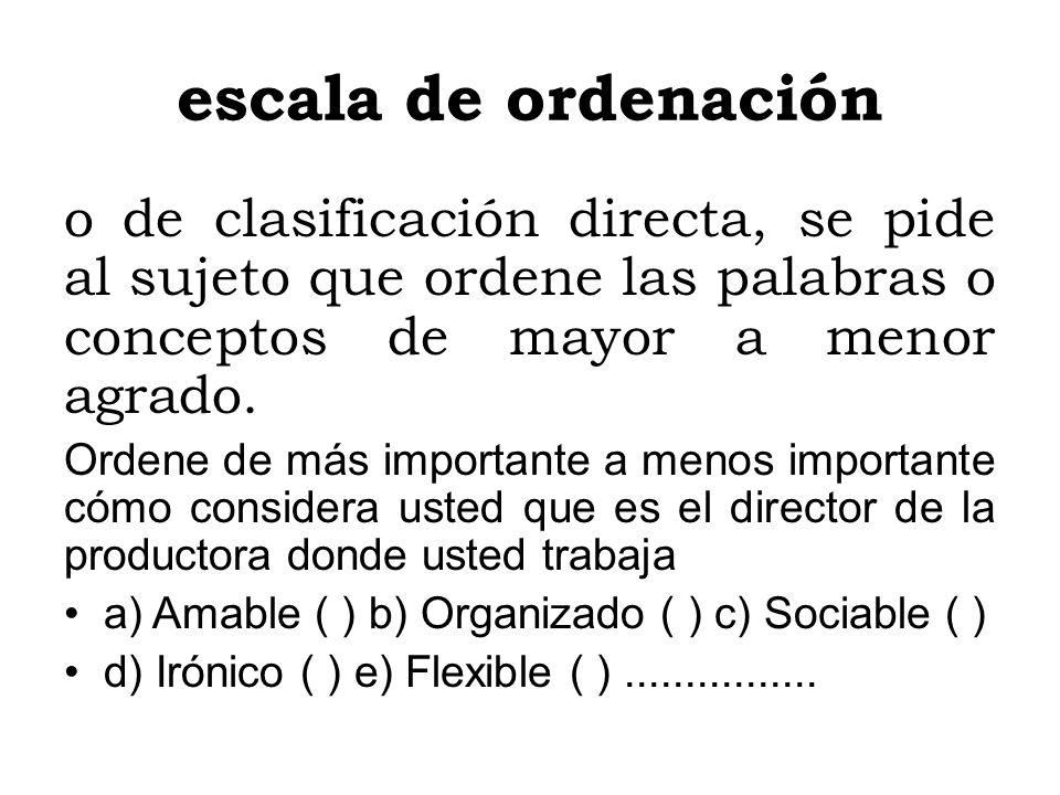 escala de ordenación o de clasificación directa, se pide al sujeto que ordene las palabras o conceptos de mayor a menor agrado.