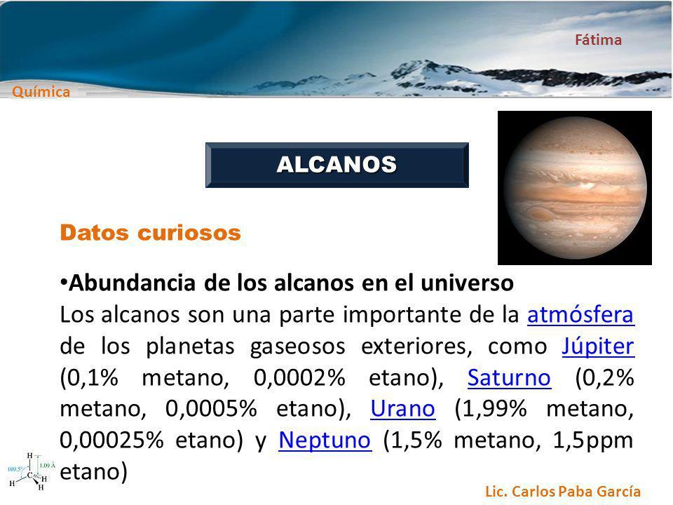 Abundancia de los alcanos en el universo