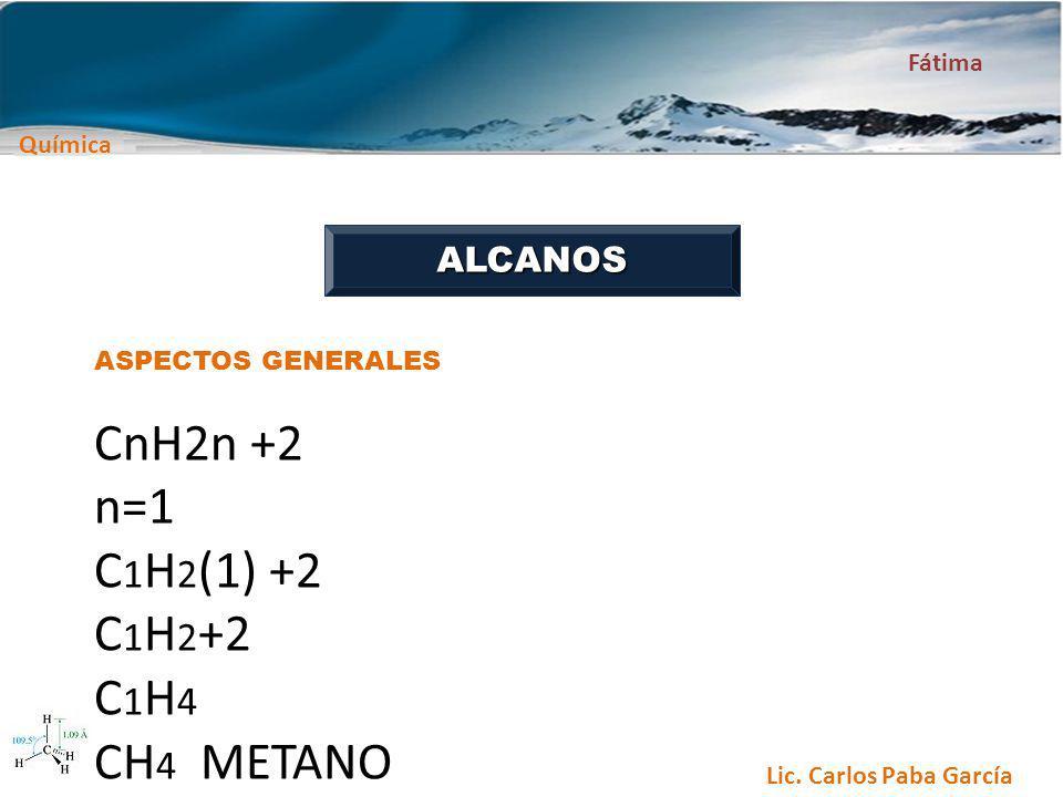 CnH2n +2 n=1 C1H2(1) +2 C1H2+2 C1H4 CH4 METANO ALCANOS