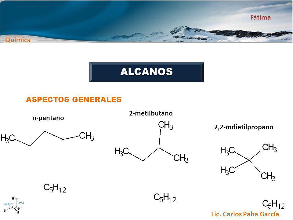 ALCANOS ASPECTOS GENERALES n-pentano 2-metilbutano 2,2-mdietilpropano