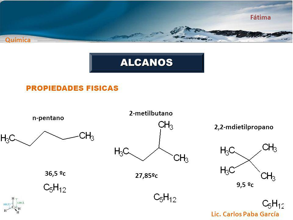 ALCANOS PROPIEDADES FISICAS 2-metilbutano n-pentano 2,2-mdietilpropano