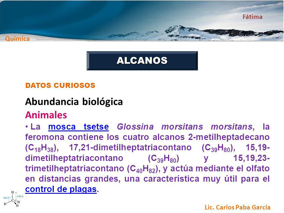 Abundancia biológica Animales ALCANOS