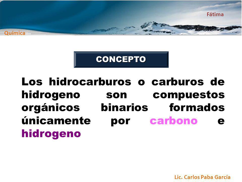 CONCEPTO Los hidrocarburos o carburos de hidrogeno son compuestos orgánicos binarios formados únicamente por carbono e hidrogeno.