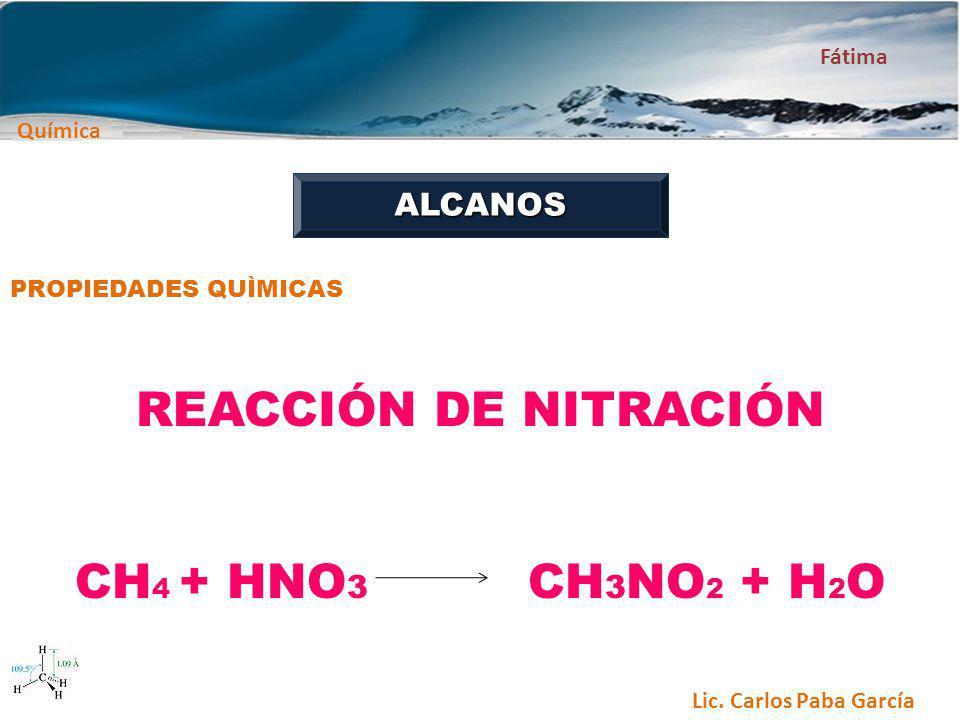 REACCIÓN DE NITRACIÓN CH4 + HNO3 CH3NO2 + H2O ALCANOS