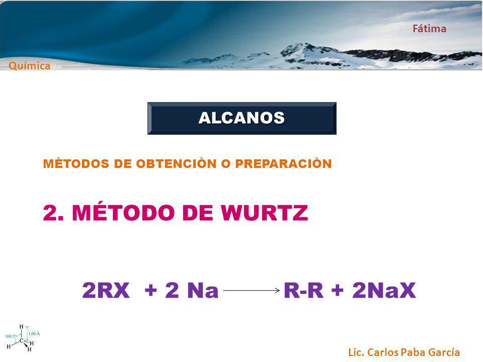 2. MÉTODO DE WURTZ 2RX + 2 Na R-R + 2NaX ALCANOS