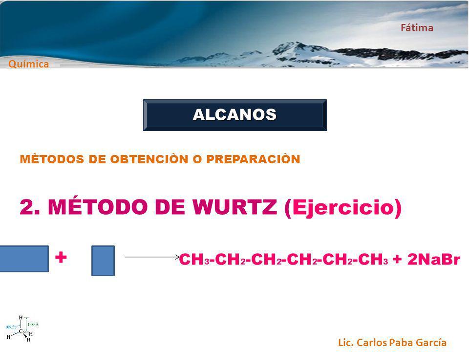2. MÉTODO DE WURTZ (Ejercicio) + CH3-CH2-CH2-CH2-CH2-CH3 + 2NaBr