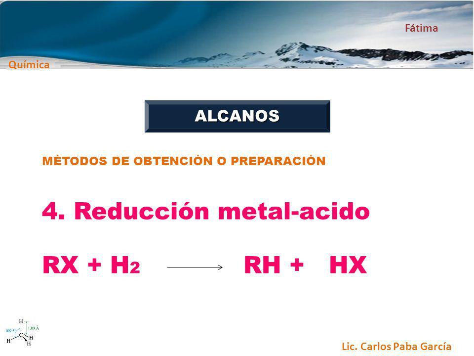 4. Reducción metal-acido RX + H2 RH + HX