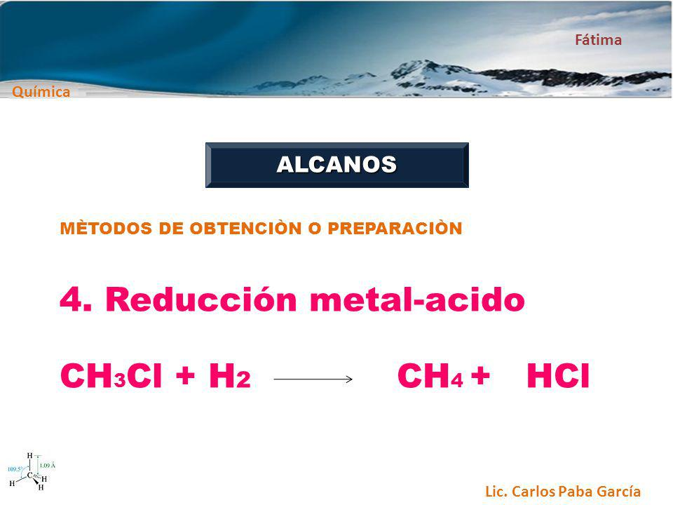 4. Reducción metal-acido CH3Cl + H2 CH4 + HCl