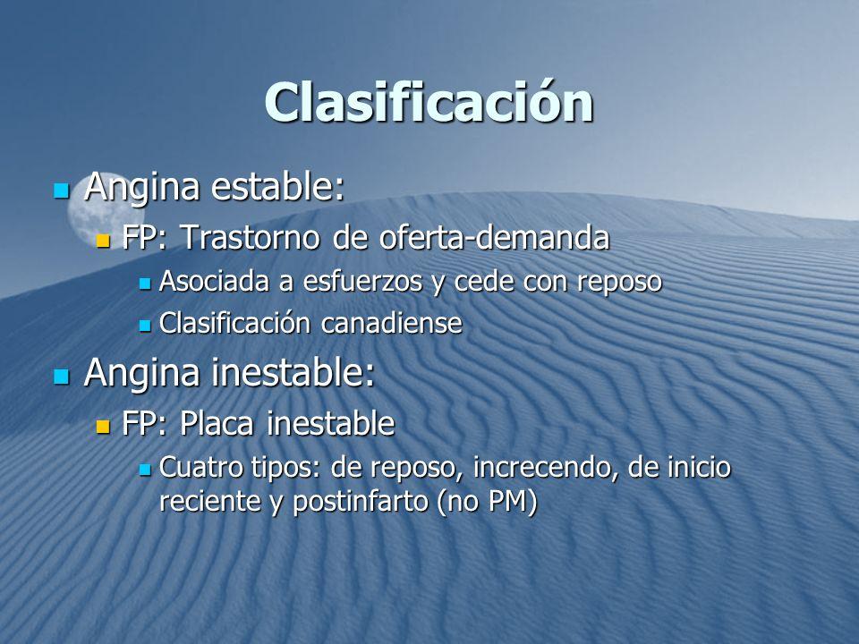 Clasificación Angina estable: Angina inestable: