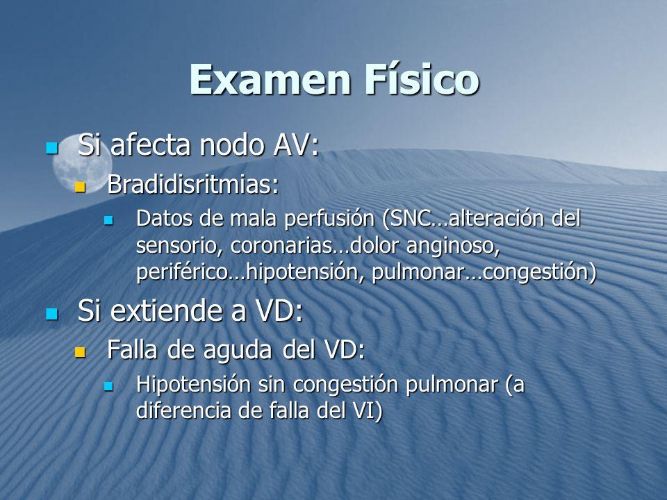 Examen Físico Si afecta nodo AV: Si extiende a VD: Bradidisritmias: