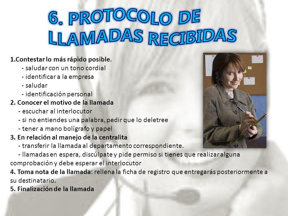 6. PROTOCOLO DE LLAMADAS RECIBIDAS