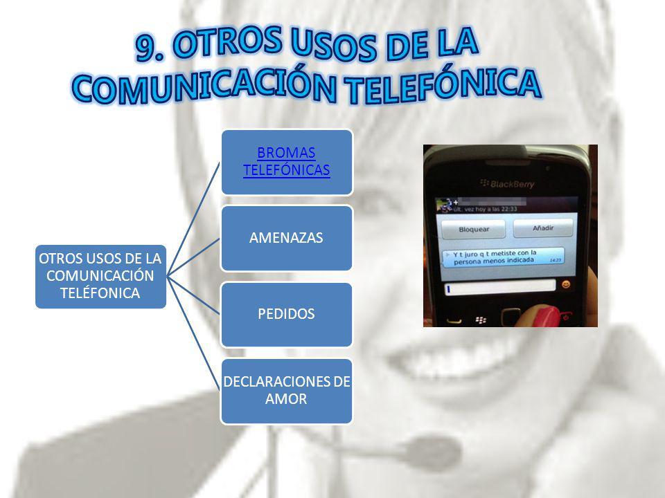9. OTROS USOS DE LA COMUNICACIÓN TELEFÓNICA