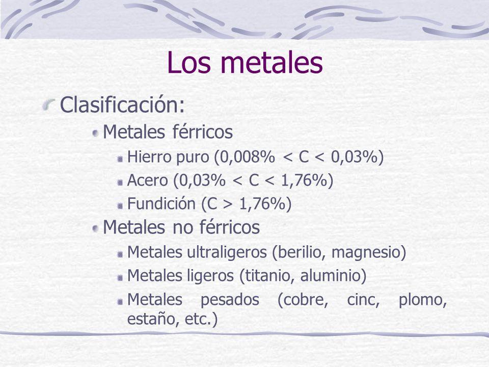 Los metales Clasificación: Metales férricos Metales no férricos