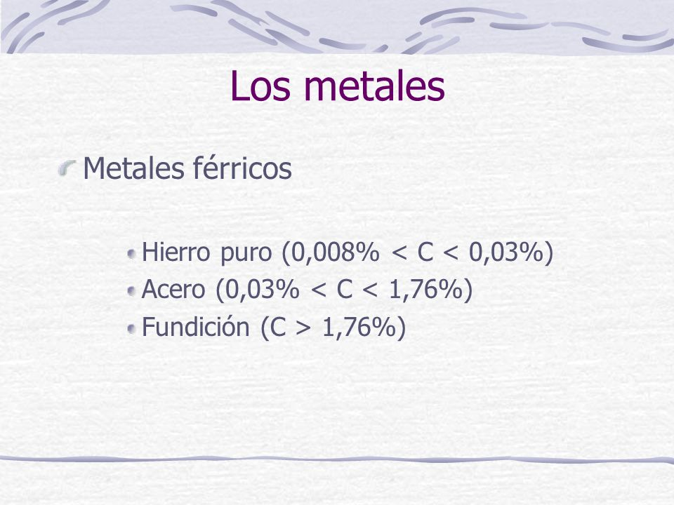 Los metales Metales férricos Hierro puro (0,008% < C < 0,03%)