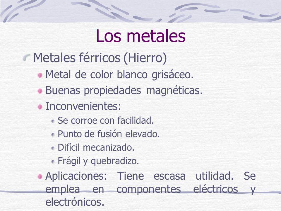 Los metales Metales férricos (Hierro) Metal de color blanco grisáceo.