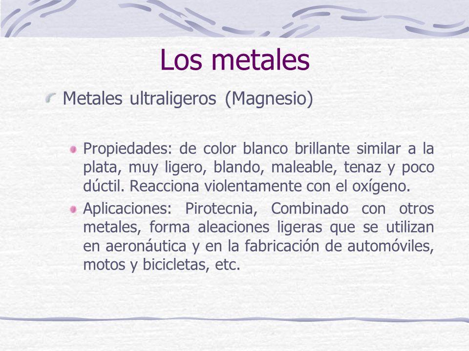Los metales Metales ultraligeros (Magnesio)
