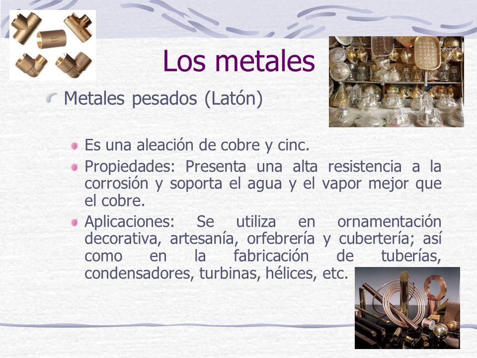 Los metales Metales pesados (Latón) Es una aleación de cobre y cinc.