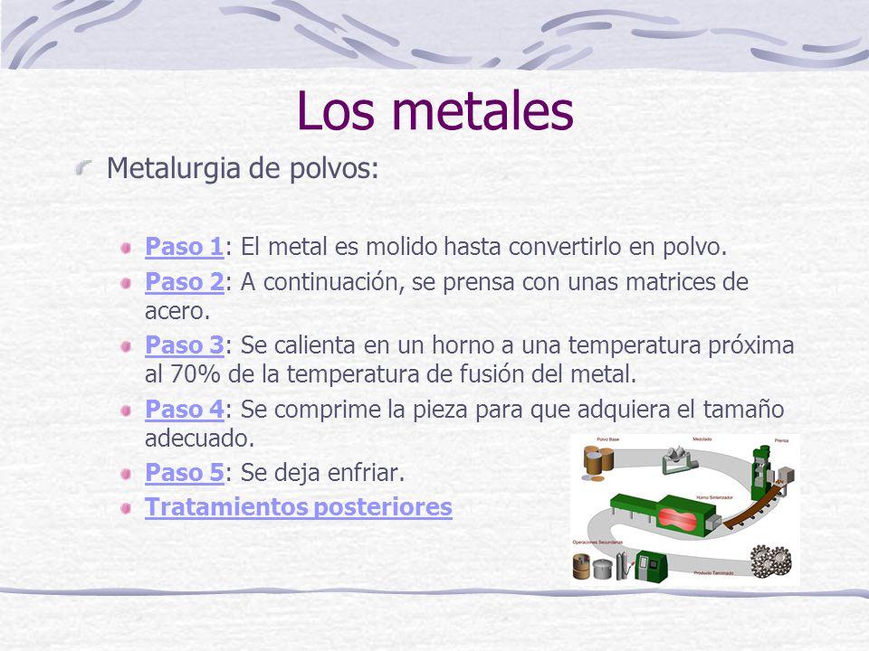 Los metales Metalurgia de polvos: