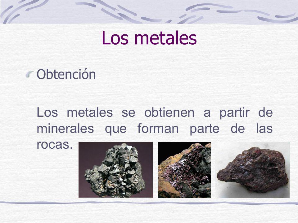 Los metales Obtención Los metales se obtienen a partir de minerales que forman parte de las rocas.