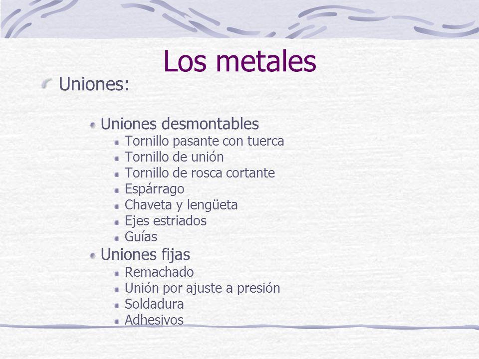 Los metales Uniones: Uniones desmontables Uniones fijas