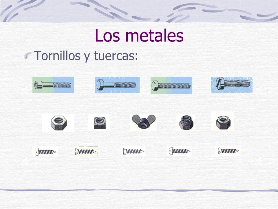 Los metales Tornillos y tuercas: