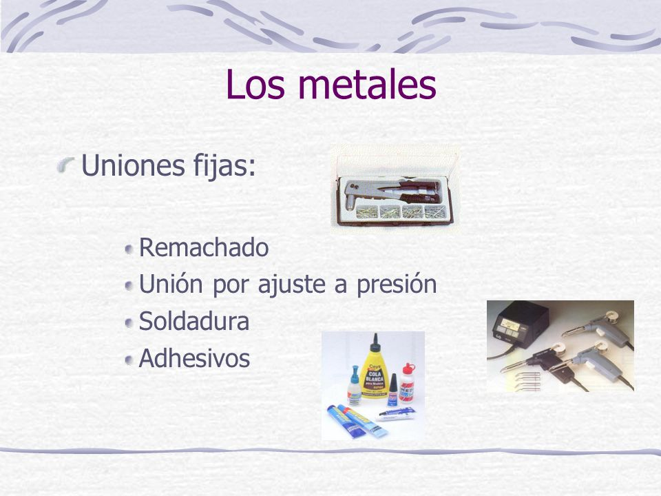 Los metales Uniones fijas: Remachado Unión por ajuste a presión