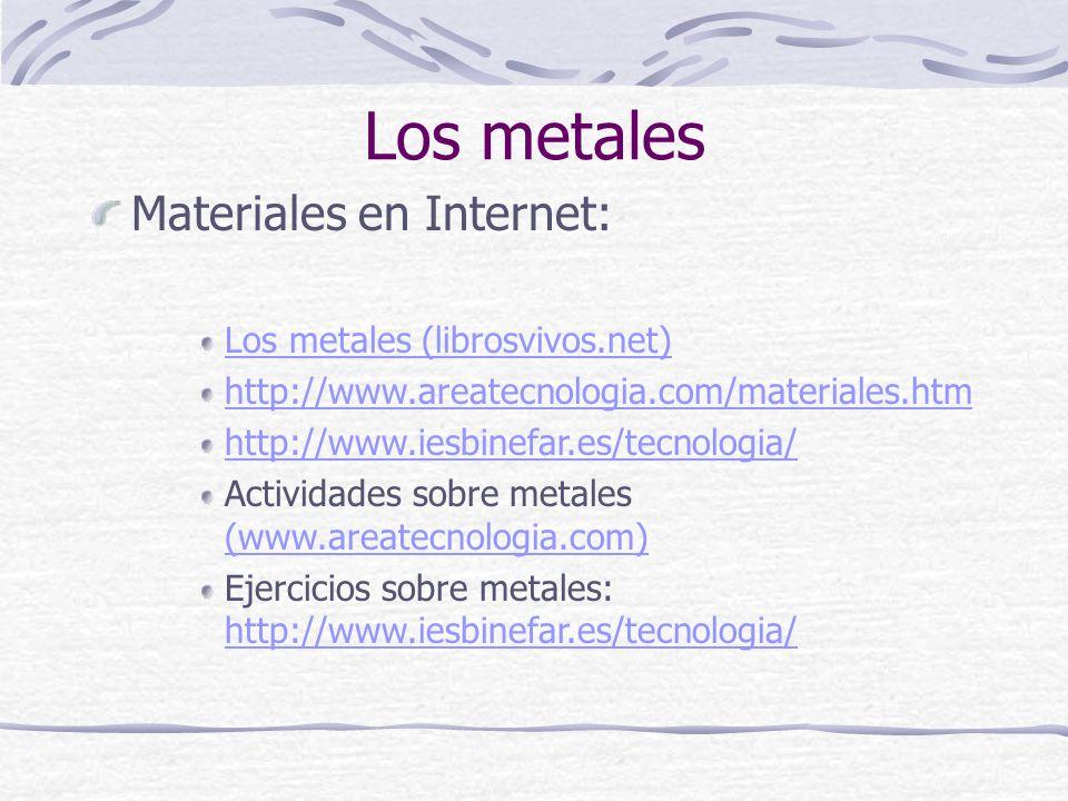Los metales Materiales en Internet: Los metales (librosvivos.net)