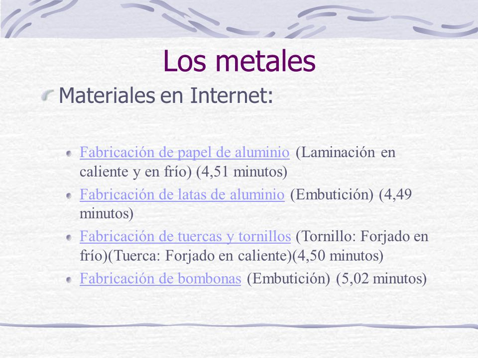 Los metales Materiales en Internet: