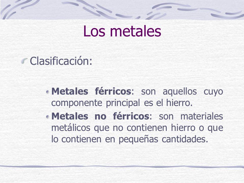 Los metales Clasificación: