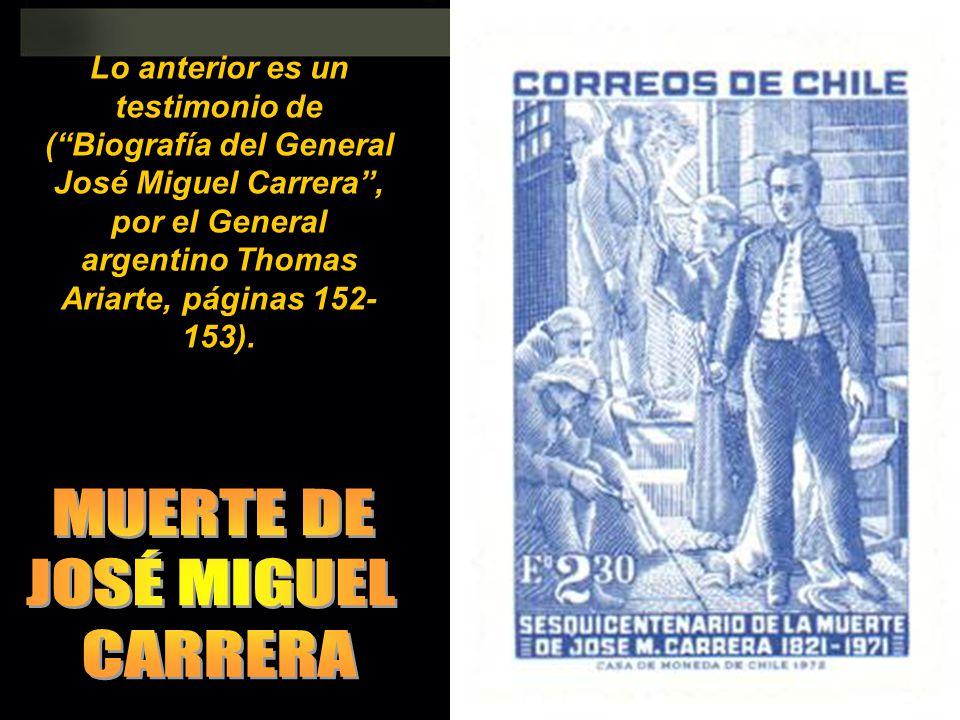 MUERTE DE JOSÉ MIGUEL CARRERA