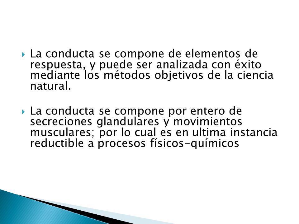 La conducta se compone de elementos de respuesta, y puede ser analizada con éxito mediante los métodos objetivos de la ciencia natural.