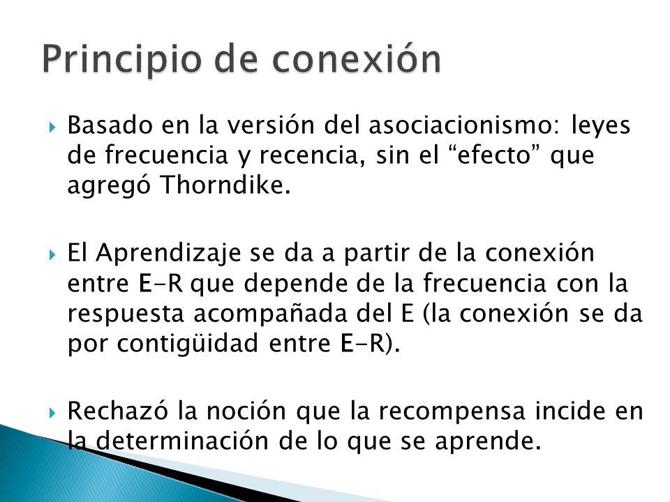 Principio de conexión Basado en la versión del asociacionismo: leyes de frecuencia y recencia, sin el efecto que agregó Thorndike.