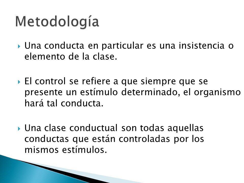 Metodología Una conducta en particular es una insistencia o elemento de la clase.
