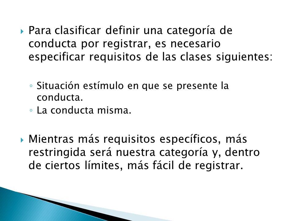 Para clasificar definir una categoría de conducta por registrar, es necesario especificar requisitos de las clases siguientes: