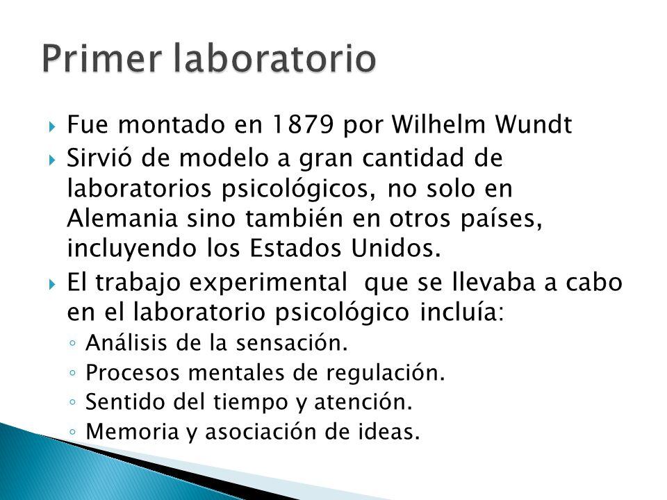 Primer laboratorio Fue montado en 1879 por Wilhelm Wundt