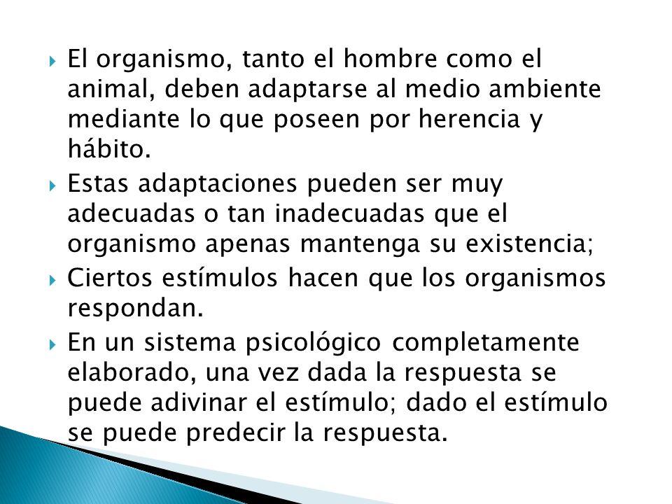 El organismo, tanto el hombre como el animal, deben adaptarse al medio ambiente mediante lo que poseen por herencia y hábito.