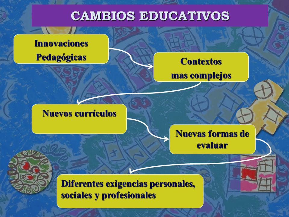 CAMBIOS EDUCATIVOS Innovaciones Pedagógicas Contextos mas complejos